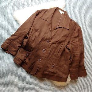Coldwater Creek Chocolate Brown Linen Blazer